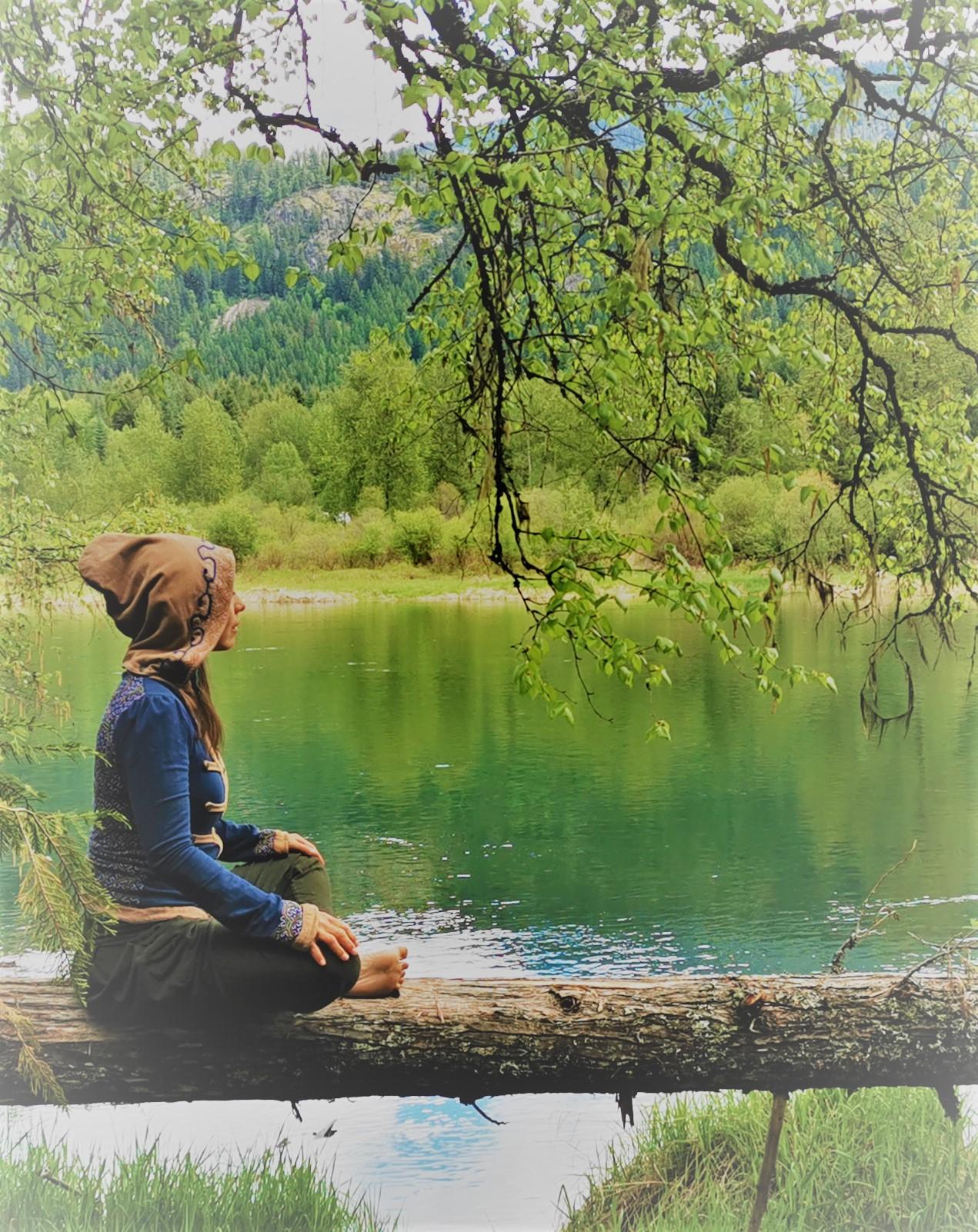 athena naia woman meditation river